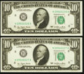 Error Notes:Ink Smears, Fr. 2023-H $10 1977 Federal Reserve Notes. Two ConsecutiveExamples. Choice Crisp Uncirculated.. ... (Total: 2 notes)