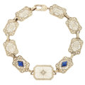 Estate Jewelry:Bracelets, Diamond, Rock Crystal Quartz, Synthetic Sapphire, White Gold Bracelet. ...