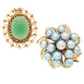 Estate Jewelry:Lots, Chrysoprase, Cultured Pearl, Gold Jewelry. ... (Total: 2 Items)