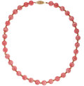 Estate Jewelry:Necklaces, Rhodochrosite, Gold Necklace. ...