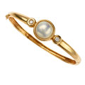 Estate Jewelry:Bracelets, Diamond, Mabe Pearl, Gold Bracelet. ...