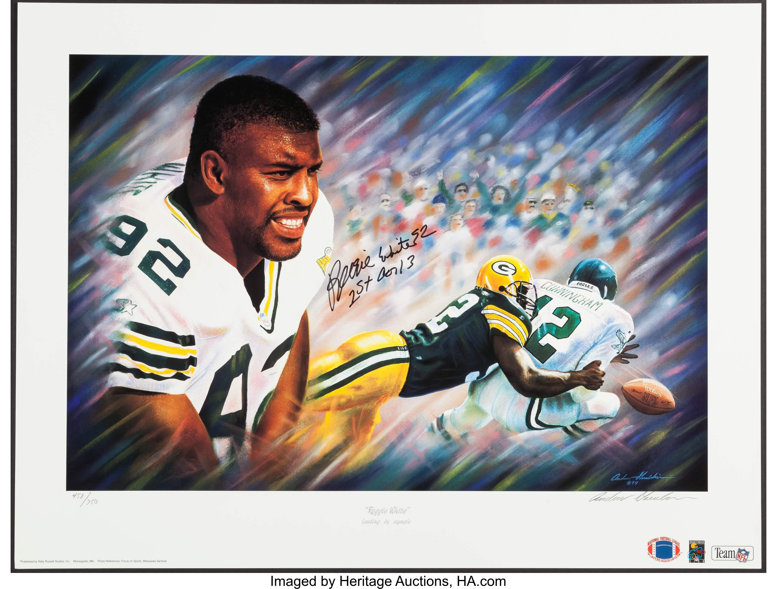 reputable site bc423 c10fd Reggie White Signed Lithograph.... Football Collectibles ...