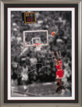 """Basketball Collectibles:Others, 1998 Michael Jordan Signed """"Last Shot"""" UDA Photograph...."""