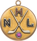 """Hockey Collectibles:Others, 1940's National Hockey League """"Worlds Hockey Championship"""" Pendant Presented to Bill Stewart...."""