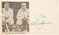 Autographs:Checks, 1953 Ty Cobb & Tris Speaker Signed Government Postcard, PSA/DNAGem Mint 10....