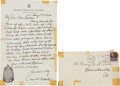 Baseball Collectibles:Others, 1940 Connie Mack Handwritten Signed Letter. ...