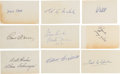 Baseball Collectibles:Others, 1950's Baseball Hall of Famers Signed Index Cards Lot of 9....