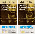 Football Collectibles:Tickets, 1967 Super Bowl I Ticket Stubs Lot of 2....