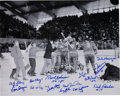Hockey Collectibles:Photos, 1960 USA Gold Medal Olympic Hockey Team Signed VictoryPhotograph....