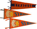 Football Collectibles:Others, 1950's Syracuse Orangemen Football Pennants Lot of 3....