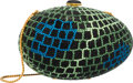 """Luxury Accessories:Accessories, Judith Leiber Full Bead Green & Black Crystal Egg MinaudiereEvening Bag. Very Good to Excellent Condition. 6"""" Widthx..."""