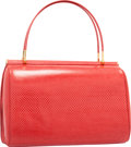 """Luxury Accessories:Bags, Judith Leiber Red Karung Tote Bag. Good to Very GoodCondition. 8.5"""" Width x 6.5"""" Height x 3"""" Depth. ..."""