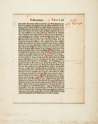 William Caxton. [Ralph Higden and John Trevisa]. Caxton Printing. One Leaf from First Edition of Ralph Higden's