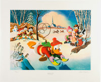 Carl Barks Snow Fun Signed Limited Edition Lithograph Print #204/345 (Another Rainbow, 1990)