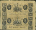 Obsoletes By State:Louisiana, New Orleans, LA- New Orleans Canal & Banking Company $10-$10 18__ Uncut Pair. ...