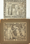 Books:Prints & Leaves, [Kelmscott Press]. Edward Burne-Jones, illustrator. Pair ofOriginal Woodcuts by Burne-Jones Taken from The Works ofGeo...
