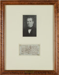 Autographs:Statesmen, [Republic of Texas]. Anson Jones Treasury Warrant Signed....