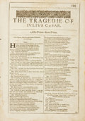 Books:Prints & Leaves, William Shakespeare. The Tragedie of Julius Caesar TitlePage, Single Leaf from the Second Folio. London...