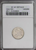 Bust Dimes: , 1834 10C Small 4 --Cleaned--ANACS. XF Details. JR-7. NGC Census:(3/202). PCGS Population (8/146).Mintage: 635,000. Numisme...