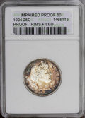 Proof Barber Quarters: , 1904 25C --Rim Filed--ANACS. Impaired Proof 60. NGC Census: (0/205). PCGS Population (5/196).Mintage: 670. Numismedia Wsl. ...