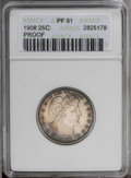 Proof Barber Quarters: , 1908 25C PR61 ANACS. NGC Census: (2/135). PCGS Population (8/163).Mintage: 545. Numismedia Wsl. Price: $335. (#5694)...