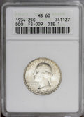 Washington Quarters: , 1934 25C Doubled Die Obverse MS60 ANACS. PCGS Population(0/61).Mintage: 31,912,052. (#5795)...