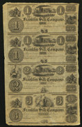 Obsoletes By State:Ohio, Franklin, OH- Franklin Silk Company $1-$1-$2-$3 18__ Uncut Sheet....