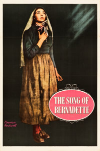 "The Song of Bernadette (20th Century Fox, 1943). One Sheet (27"" X 41"") Advance Style, Norman Rockwell Artwork..."