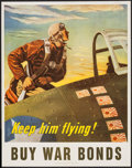 "Movie Posters:War, World War II Propaganda (U.S. Government Printing Office, 1943). Poster (22"" X 28""). ""Keep Him Flying."" War.. ..."