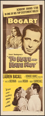 """To Have and Have Not (Dominant Pictures, R-1956). Insert (14"""" X 36""""). Romance"""
