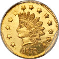 California Fractional Gold , 1872 $1 Indian Round 1 Dollar, BG-1207, R.4, MS65 PCGS....
