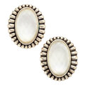 Estate Jewelry:Earrings, Rock Crystal Quartz, Mother-of-Pearl, Sterling Silver Earrings,Lagos. ...