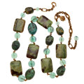 Estate Jewelry:Necklaces, Jasper, Fluorite, Yellow Metal Necklace, Stephen Dweck. ...