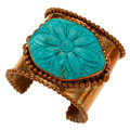 Estate Jewelry:Bracelets, Turquoise, Yellow Metal Cuff Bracelet, Stephen Dweck. ...