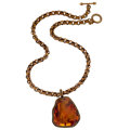 Estate Jewelry:Necklaces, Amber, Yellow Metal Pendant-Necklace, Stephen Dweck. ...