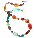Estate Jewelry:Necklaces, Multi-Stone, Assembled Stone, Yellow Metal Necklace, Stephen Dweck....
