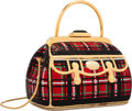 """Luxury Accessories:Bags, Judith Leiber Full Bead Red & Black Crystal Tartan Doctor BagMinaudiere Evening Bag. Excellent Condition. 5.5"""" Width..."""