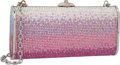 """Luxury Accessories:Bags, Judith Leiber Full Bead Pink & Silver Crystal RectangularMinaudiere Evening Bag. Very Good Condition. 5.75"""" Widthx 3..."""