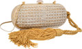 """Luxury Accessories:Bags, Judith Leiber Half Bead Gold & Silver Crystal Oval MinaudiereEvening Bag. Excellent Condition. 6.5"""" Width x 2.75""""Hei..."""