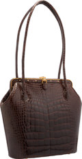 "Luxury Accessories:Bags, Judith Leiber Shiny Brown Alligator Shoulder Bag. Very GoodCondition. 11"" Width x 11.5"" Height x 4.5"" Depth. ..."