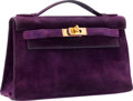 "Luxury Accessories:Bags, Hermes Violet Veau Doblis Suede Kelly Pochette Bag with GoldHardware. I Square, 2005. Good Condition. 8.5""Width ..."