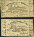Obsoletes By State:Mississippi, Holly Springs, MS- Mississippi Central Rail Road Compy. 25¢; 50¢ Jan. 1, 1863 Kraus 52112; 52113. ...