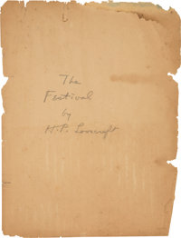 H. P. Lovecraft [American author, 1890-1937]. Original Typescript for The Festival. 598 Angell