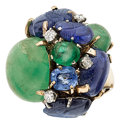 Estate Jewelry:Rings, Emerald, Sapphire, Diamond, Gold Ring, Seaman Schepps. ...