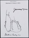 Miscellaneous Collectibles:General, Denton A. Cooley Single Signed Sheet With Heart Drawing! (SurgeonResponsible For First Heart Transplant). ...