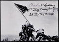 "Miscellaneous Collectibles:General, Charles Lindberg ""1st Flag Raider Iwo Jima, Feb. 23 1945 10:30 AM.""Signed Photograph. ..."