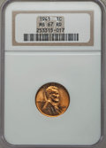 Lincoln Cents: , 1941 1C MS67 Red NGC. NGC Census: (769/0). PCGS Population (220/1). Mintage: 887,039,104. Numismedia Wsl. Price for problem...