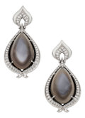Estate Jewelry:Earrings, Moonstone, Diamond, White Gold Earrings, Donald Huber . ...
