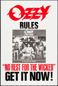 "No Rest for the Wicked (Sony, 1988). Album Poster (25.5"" X 37.5""). Rock and Roll"