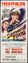 "Movie Posters:War, Destination Tokyo & Other Lot (Warner Brothers, 1949). FirstPost War Release Belgian (14"" X 33"") & Belgian (14"" X21.25"").... (Total: 2 Items)"